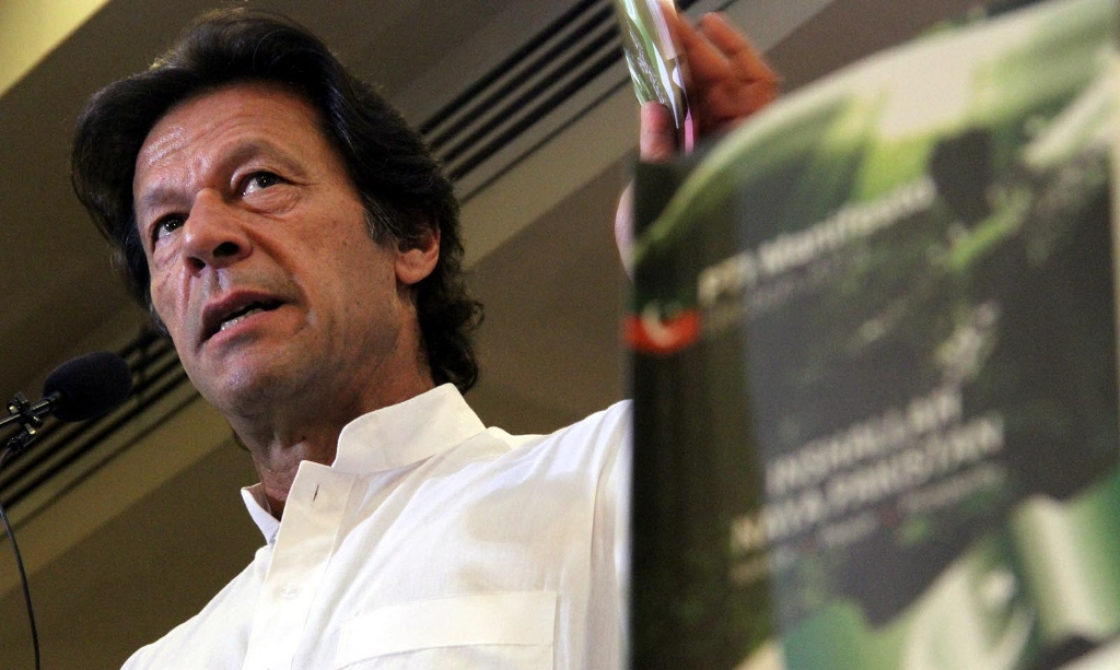 Imran Khan during the launch of his party's manifesto. PHOTO: INP