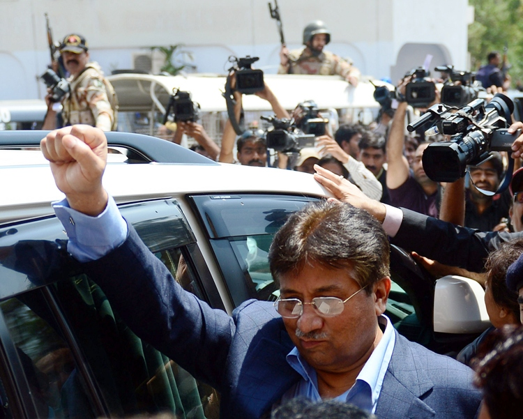pervez musharraf came amid high security and doors to islamabad high court were closed throughout the hearing photo afp file