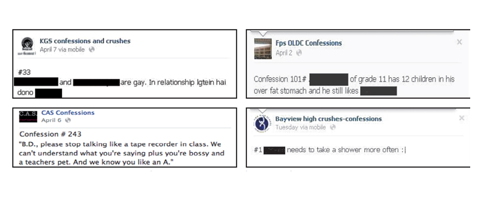 Next level bullying: Facebook confessions pages have made life miserable for several students as their whole names appear on the pages for everyone to see. PHOTOS: FACEBOOK
