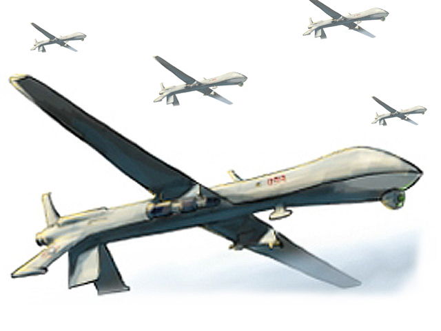 US drone fired two missiles at a compound in Manzar Khel area of Datta Khel. PHOTO: FILE