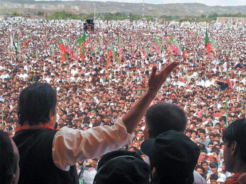 imran khan addresses a mammoth rally in karak on sunday photo nni