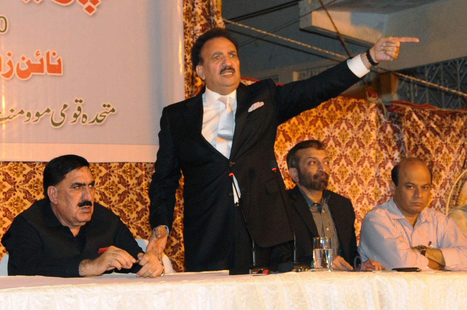 rehman malik c gestures as he speaks during a joint press conference with mqm leaders farooq sattar 2nd from r and wasay jalil r and anp sindh chief shahi syed l photo mohammad noman express
