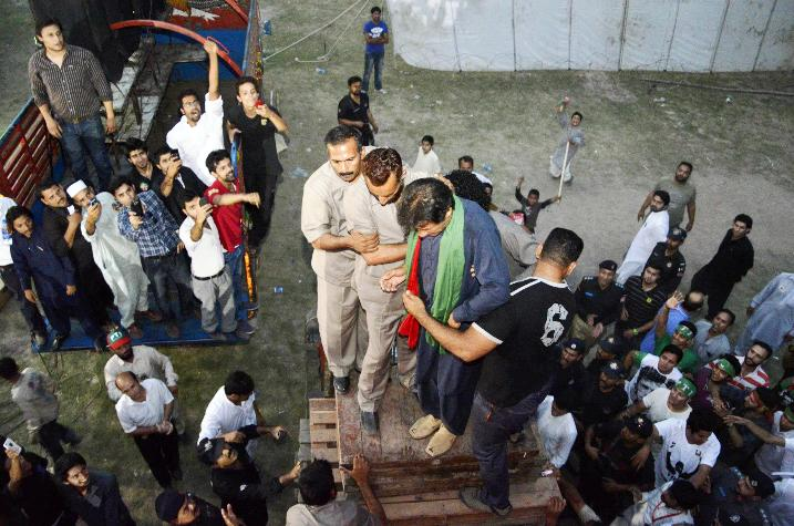 pti chairman moments before he fell off the lifter photo pti social media team