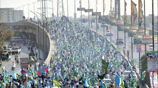 ji held a rally to protest against the general elections in karachi photo file