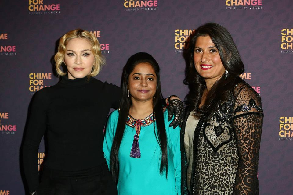 Pop singer Madonna with activist Humaira Bachal and filmmaker Sharmeen Obaid. PHOTO: MADONNA FACEBOOK PAGE