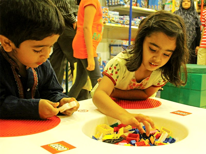 children were seen busy building castles and buildings on small tables at the launch photo ayesha mir express