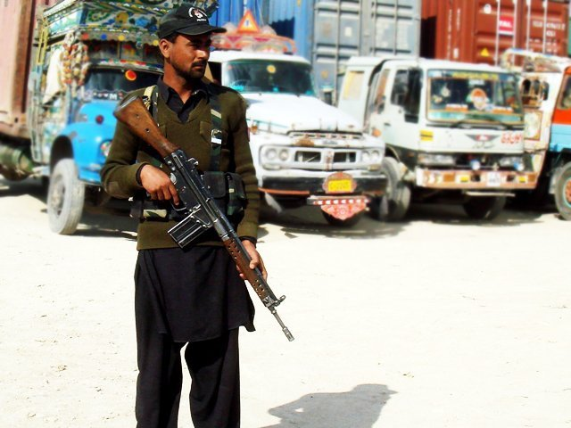 a security officail stands guard near the chaman border photo afp file