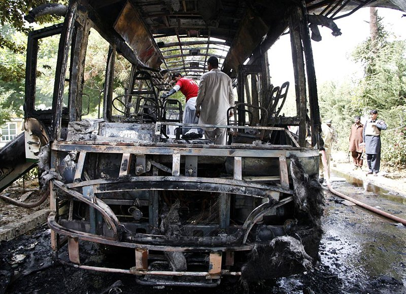 at least 25 people were killed on saturday when militants blew up a bus carrying female students photo online