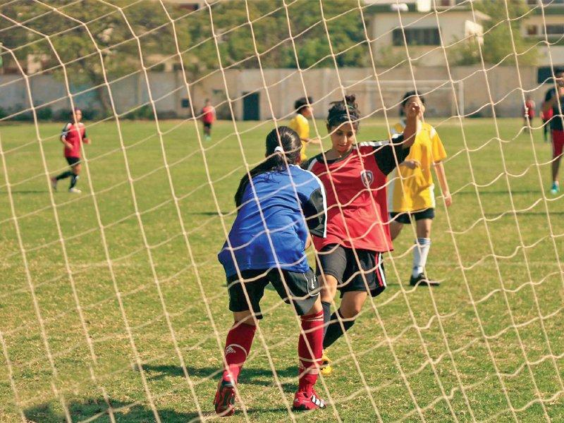 The KGFC's football league for women was organised at the Karachi Metropolitan Corporation ground. PHOTO COURTESY UZAIR QADRI