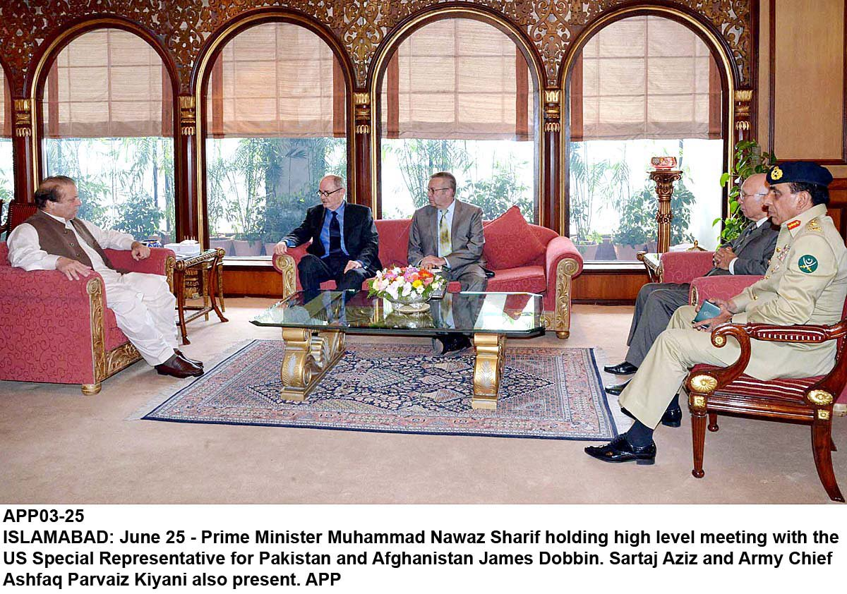 prime minister nawaz sharif meets with us special envoy to afghanistan and pakistan james dobbins as sartaj aziz and army chief ashfaq pervez kayani not in photo look on photo app