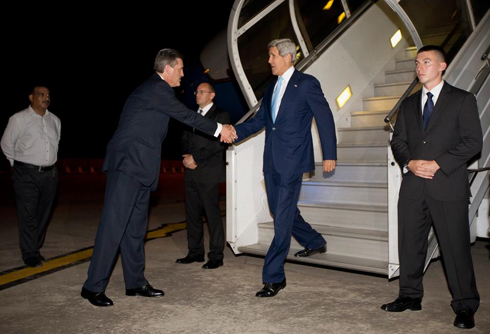 us secretary of state john kerry landed in pakistan late on wednesday on an unannounced visit for talks on eliminating militant safe havens as us led troops prepare to leave afghanistan photo reuters