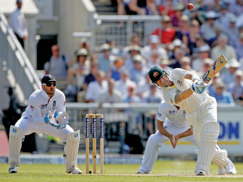 australia captain clarke was almost caught at leg slip as swann produced a turning ball that looped over jonathan trott photo reuters