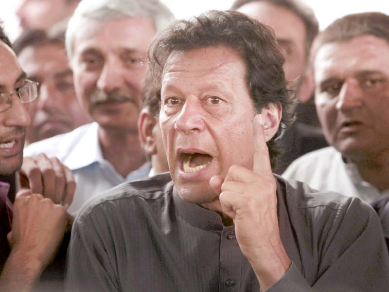 imran khan speaks to the media after appearing in court for his contempt of court hearing photo reuters