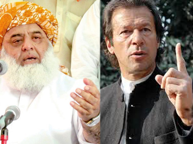 jui chief fazlur rehman and pti chairman imran khan had been at loggerheads since the time of the elections photo file