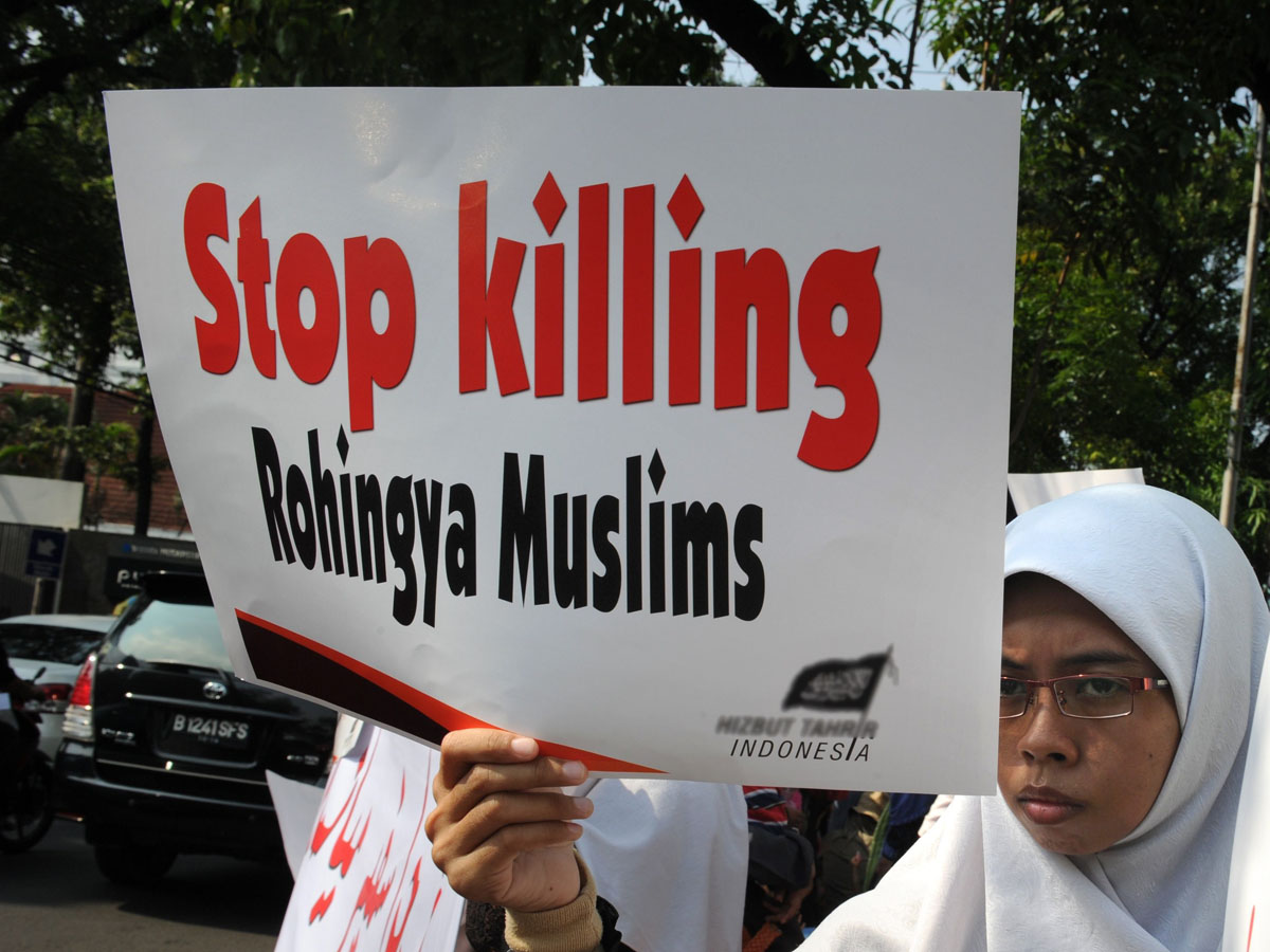 a group of indonesian muslims rally outside the myanmar embassy in jakarta on october 31 2012 photo afp