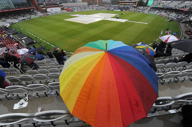 cricket fans are pictured during a rain delay on the fifth day of the third ashes cricket test match between england and australia photo afp