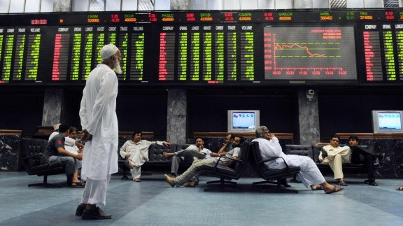 the karachi stock exchange s kse benchmark 100 share index shed 0 35 or 79 37 points to end at 22 621 93 point level photo afp file