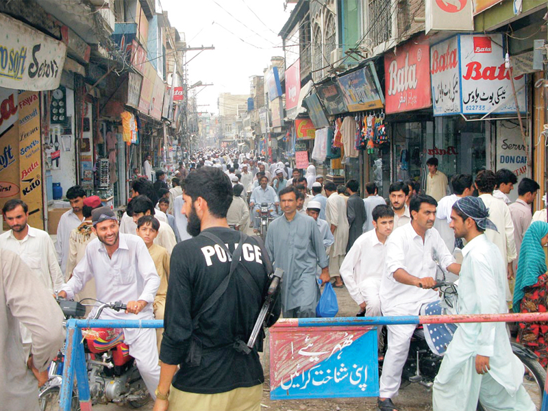 roads leading to crowded market places have been blocked amid security concerns across the province police deployments have increased at bazaars including the main market in bannu photo online