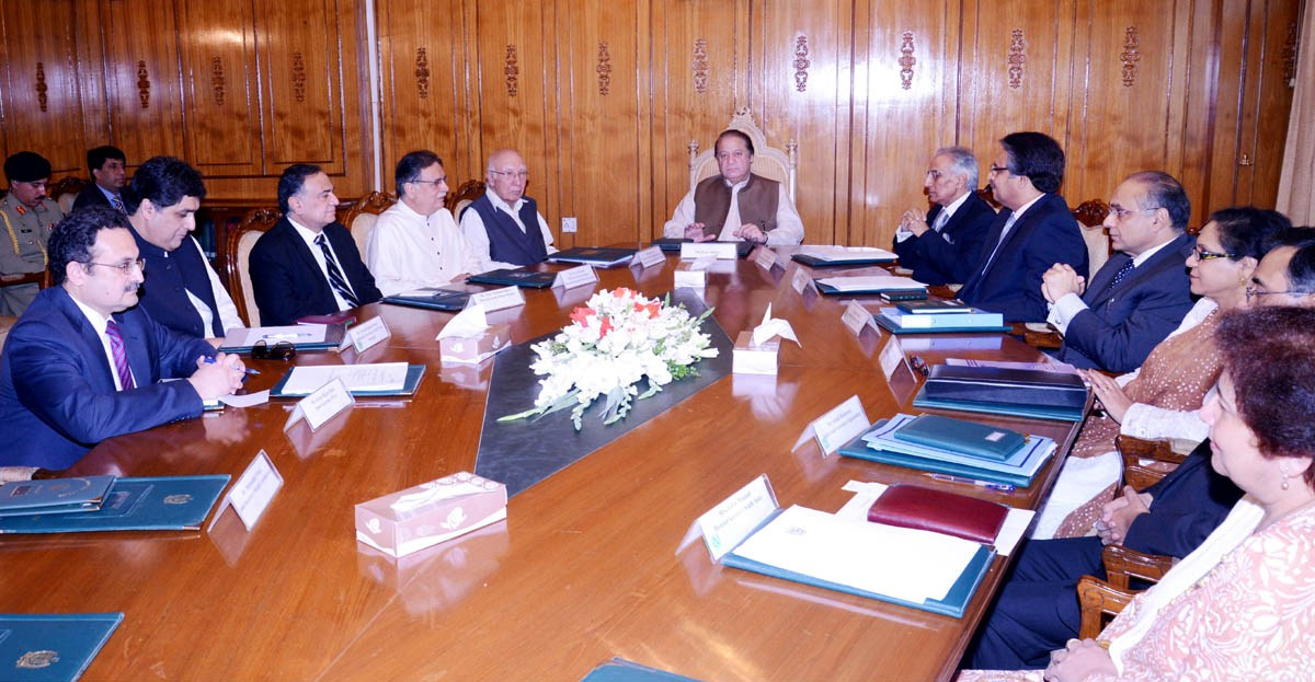 prime minister nawaz sharif being briefed by the officials of the foreign office photo pid