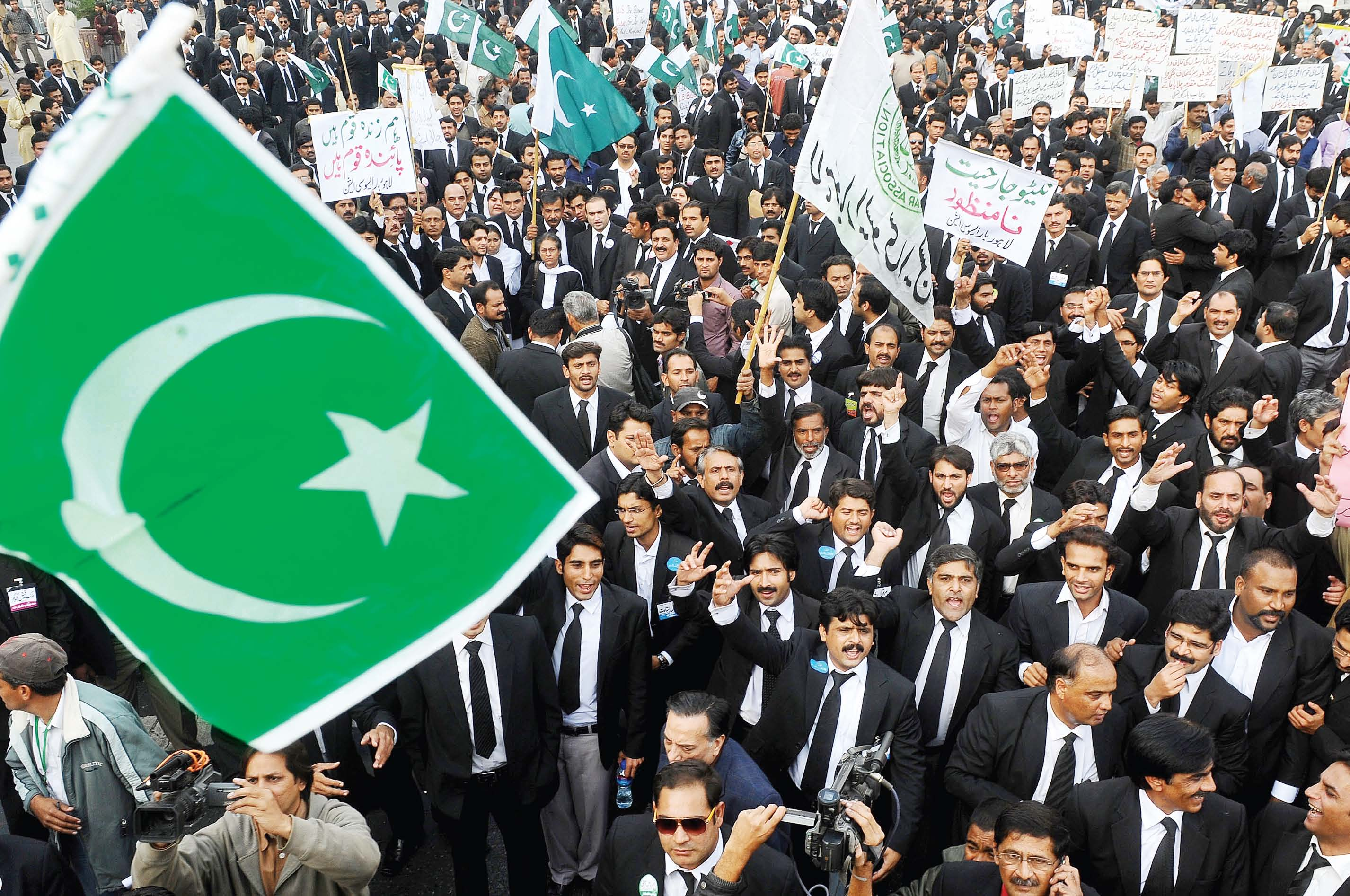 a file photo of the lahore bar association and lahore high court bar association members taking part in a protest photo mehmood qureshi express