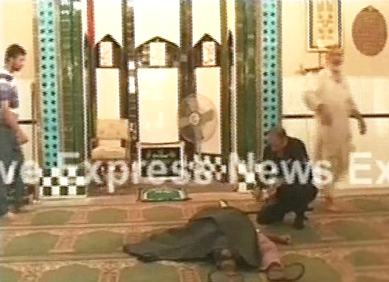 screengrab of the suicide bomber gunned down inside the mosque