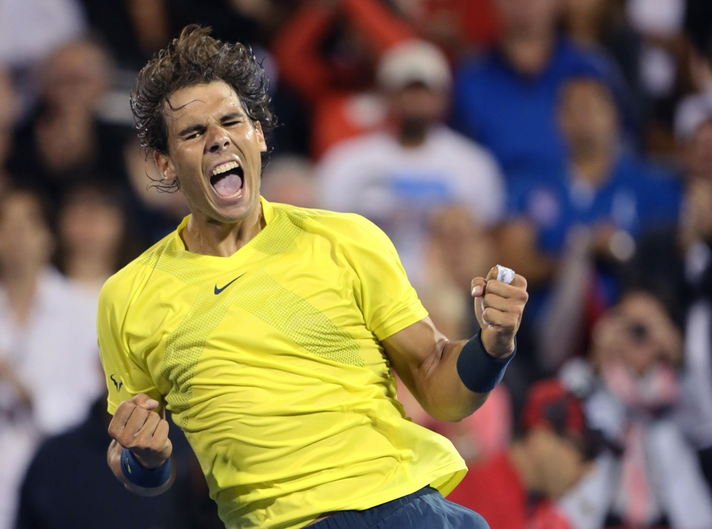 rafael nadal of spain celebrates his win over novak djokovic of serbia during semi final action at the men 039 s rogers cup tennis tournament in montreal august 10 2013 photo reuters