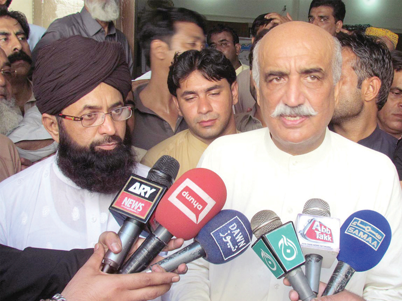syed khursheed ahmed shah speaking to the media in sukkur on saturday photo online