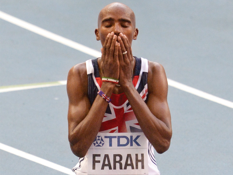 world champion farah was disappointed with the poor turnout at the stadium photo afp