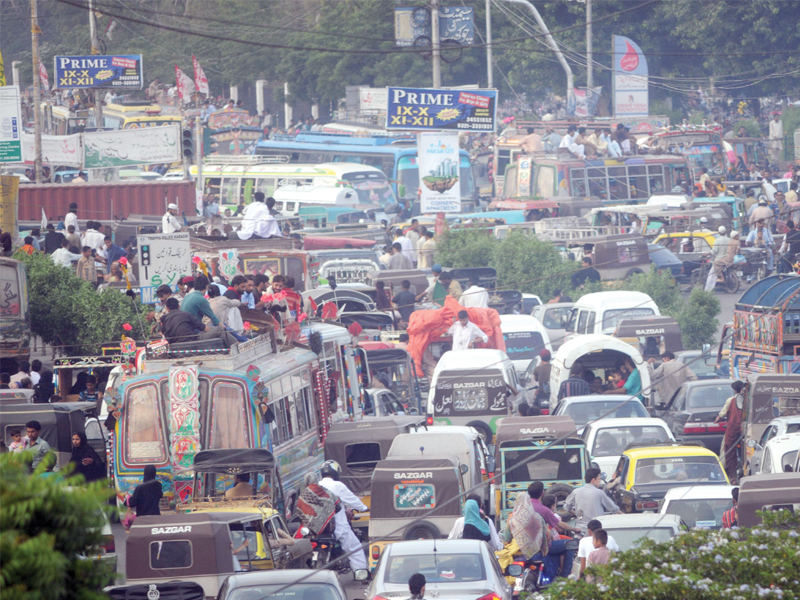 traffic jam at numaish chowrangi caused people a lot of problems as they were stuck for hours photo mohammad noman express
