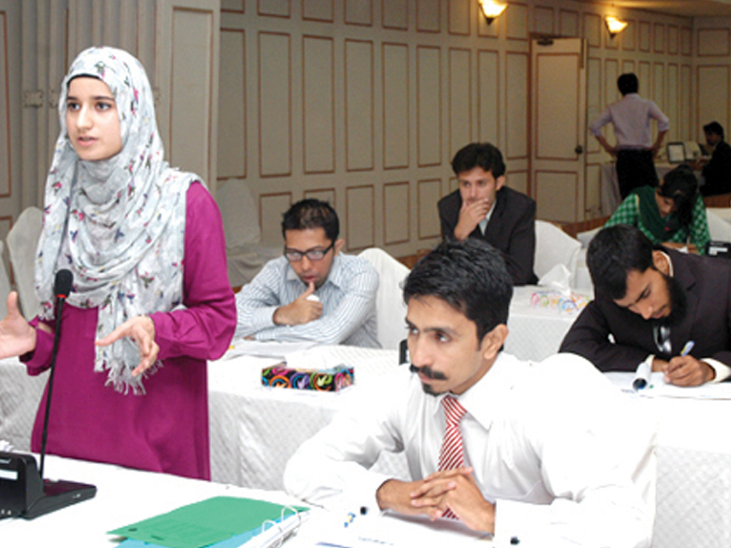 sitwat waqar left the shadow minister for foreign affairs and defence speaking at a session of youth parliament pakistan about promoting peace in pakistan and india by following examples of european integration photo source youth parliament pakistan s website