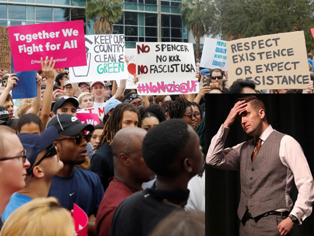 (L):Demonstrators rally before the speech by Richard Spencer on the campus of the University of Florida in Gainesville, Florida on Oct. 19, 2017.  PHOTO: REUTERS (R): Richard Spencer, a leader of the so-called alt-right movement was one of the organizers of the August march in Charlottesville, Virginia, in which a far-right supporter drove his car into a crowd of demonstrators, killing a 32-year-old woman. PHOTO: AFP