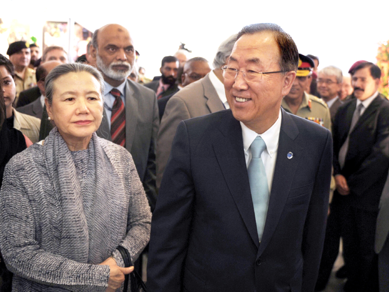ban ki moon accompanied by his wife yoo soon taek at nust in islamabad photo afp