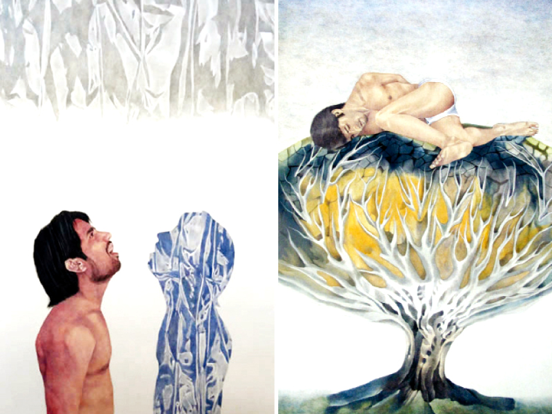 As many as 15 art pieces, mostly self-portraits in gouache on wasli were displayed. PHOTO: SHAFIQ MALIK/EXPRESS