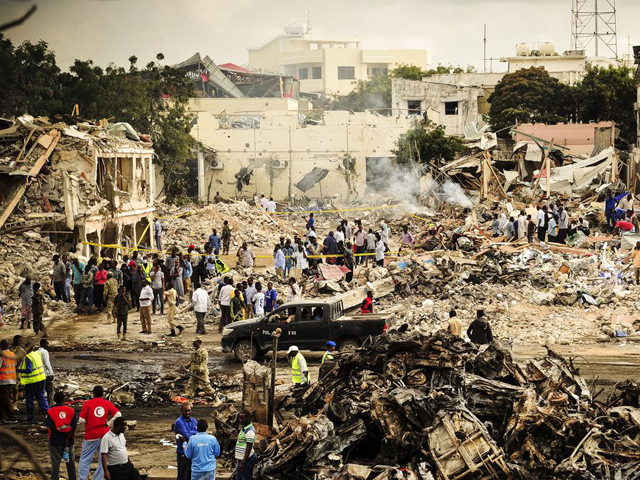 Blood runs in the streets of Mogadishu, which on Saturday became the site of the worst terrorist atrocity in Somalia's history. PHOTO: AFP
