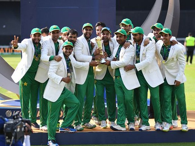 June 18th 2017, The Kia Oval, London, England; ICC Champions Trophy Cricket Final; India versus Pakistan; Pakistan celebrate winning the ICC Champions Trophy. PHOTO: GETTY