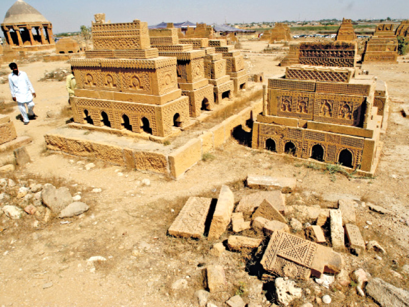 The historic Chowkandi graveyard on the outskirts of Karachi has been encroached upon, according to a petition filed in Sindh High Court. PHOTO: FILE