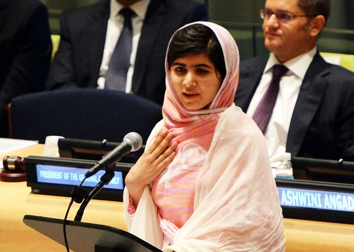 pakistani student malala yousafzai speaks before the united nations youth assembly july 12 2013 at un headquarters in new york photo afp