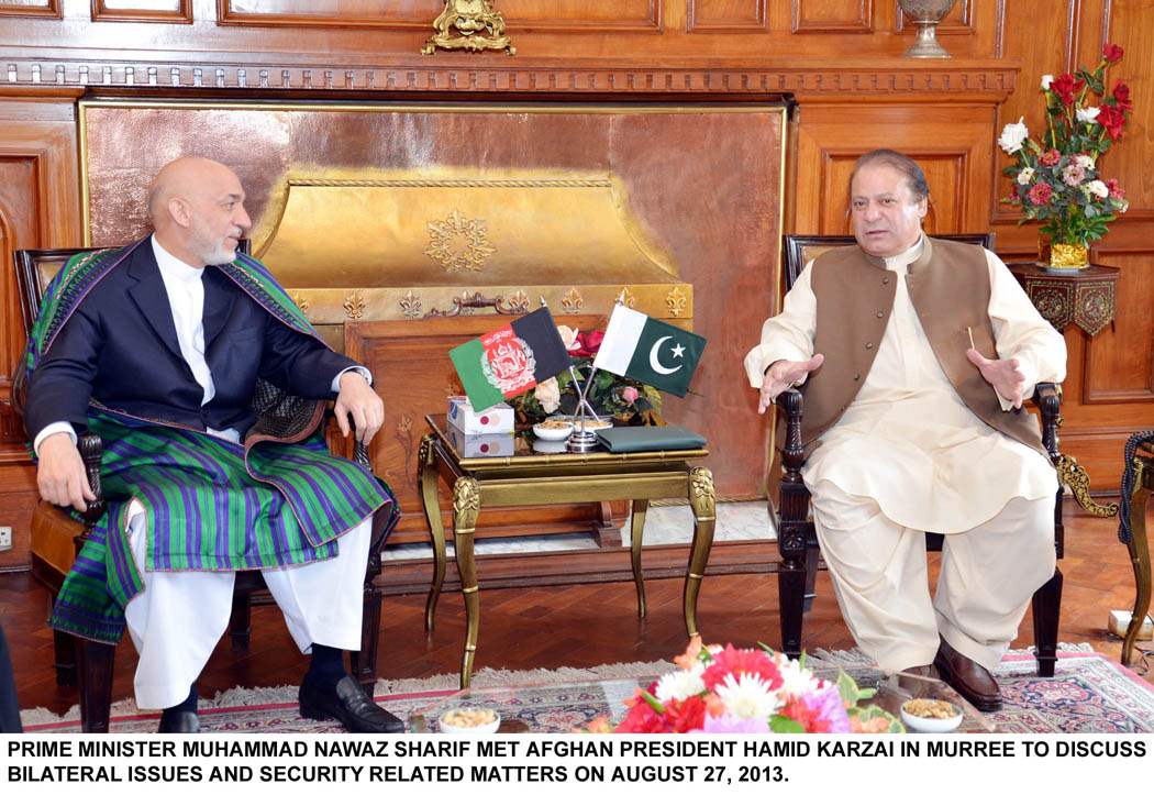 Prime Minister Nawaz Sharif met Afghan President Hamid Karzai in Murree to discuss bilateral issues. PHOTO: PID