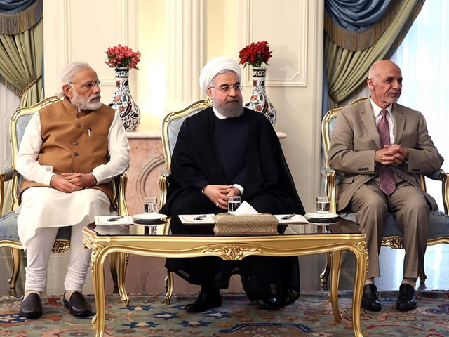 Leaders of India, Iran, Afghanistan: Narendra Modi, Hassan Rouhani, Ashraf Ghani in Tehran on May 23, 2016. PHOTO: GETTY