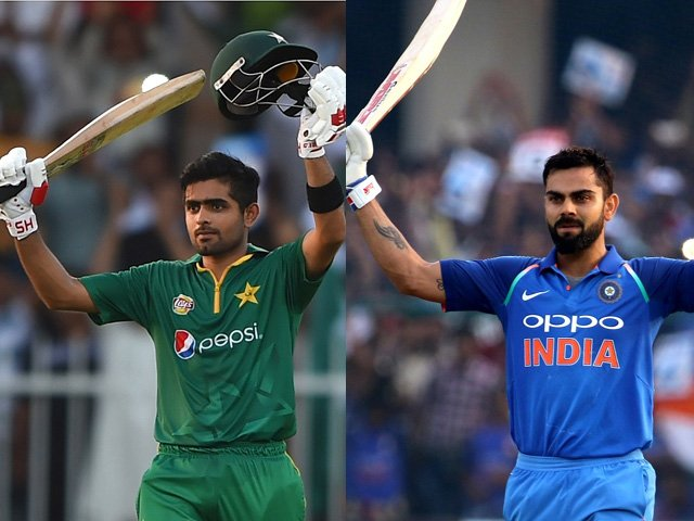 (L): Babar Azam soaks in the applause after raising his maiden international century, Pakistan v West Indies, 1st ODI, Sharjah, September 30, 2016. PHOTO: GETTY (R): Virat Kohli completed his 32nd ODI hundred in Kanpur, India v New Zealand, 3rd ODI, Kanpur, October 29, 2017. PHOTO: BCCI