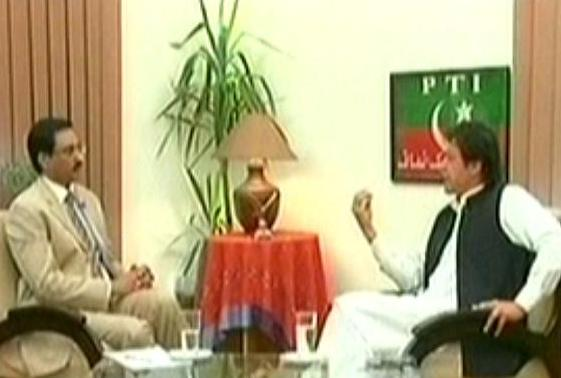 screenshot of imran khan in interview with javed chaudhry on express news