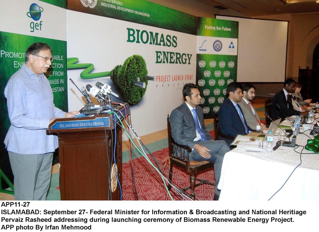 federal minister of information senator pervez rasheed addressing during launching ceremony of biomass renewable energy project photo app