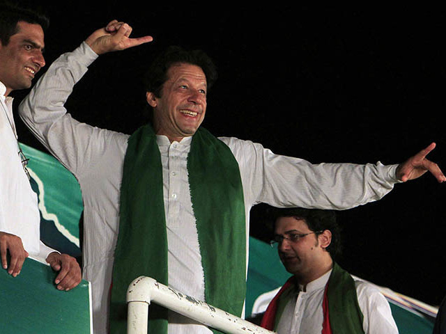 imran khan gestures to his supporters photo reuters