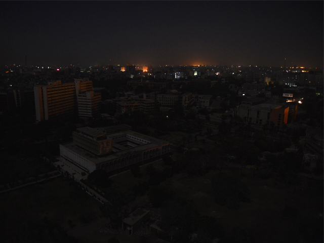 An aerial view of buildings and homes during a nationwide power blackout in Karachi. Pakistan was hit by a nationwide blackout for more than two hours after the breakdown of a major plant caused power stations to stop working across the country on February 25. PHOTO: AFP