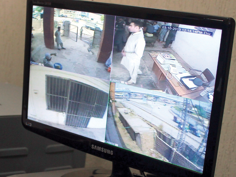 the cctv system installed at gulbahar police station is connected to screens at the ig office sp city office and the cm house photo muhammad iqbal express