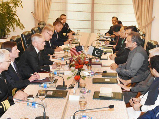 US delegation led US Defence Secretary James Mattis calls on PM Shahid Khaqan Abbasi among other high-level officials in Islamabad on Monday. PHOTO: PID