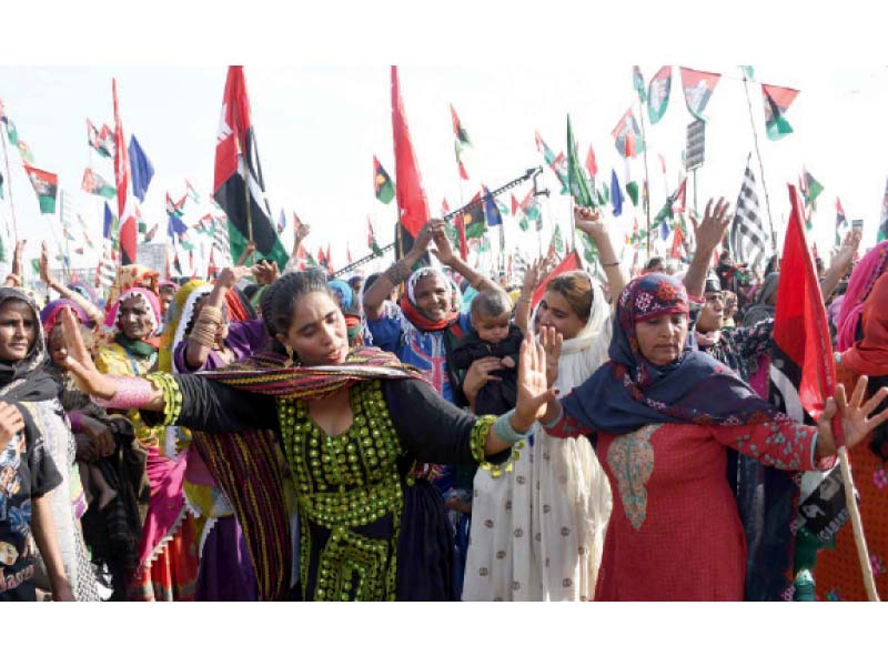 women dance at the pakistan democratic movement s rally in hyderabad people from across sindh gathered in the city on tuesday when it hosted a public meeting of the 11 party opposition alliance photo inp