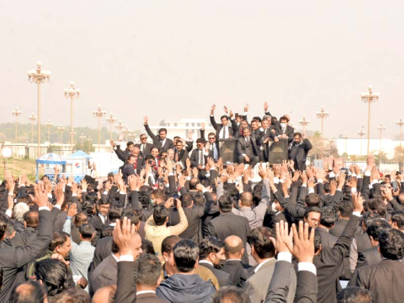 lawyers shout slogans during their demonstration at d chowk in the federal capital online photo