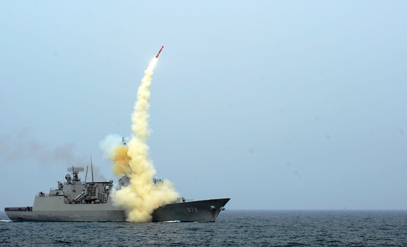 A South Korean naval ship launches an indigenous cruise missile during a drill at an undisclosed location. PHOTO: REUTERS