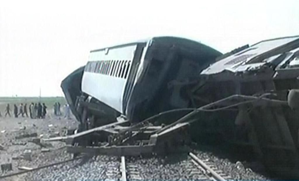 screengrab of the derailed train